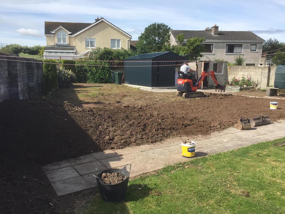 Mini Digger Levelling Garden. Eoin O'Keeffe Architects